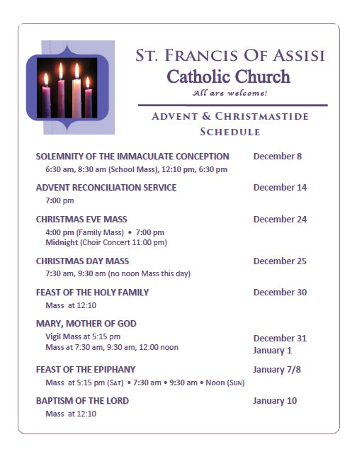 Advent and Christmastide Schedule 2016