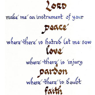 Prayer of St. Francis Calligraphy by Fr. Franklin Fong, OFM