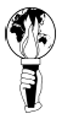 hand holding torch in front of a globe